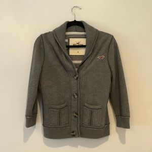 Grey Hollister quarter sleeve cardigan sweater
